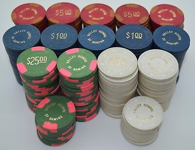 Set of 300 Valley School of Gaming 25¢-$1-$5-$25 Poker Chips Las Vegas Paulson