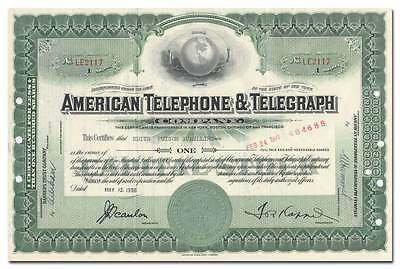 American Telephone & Telegraph Company Stock Certificate (AT&T)