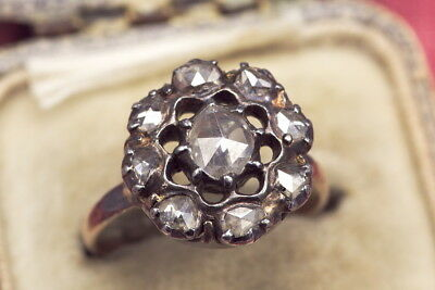ANTIQUE EARLY VICTORIAN ENGLISH 15K GOLD 1.4ct ROSE CUT DIAMOND RING c1850