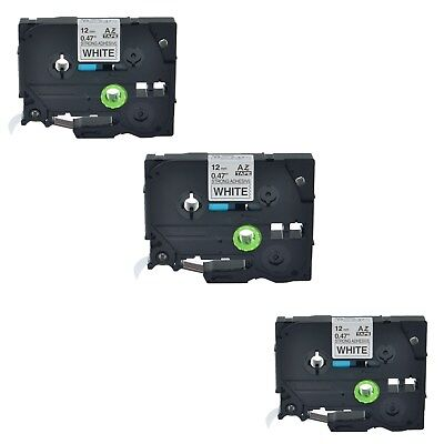 3PK TZe S231 TZ-S231 Black On White Label Tape For Brother P-Touch PT-2470 12mm