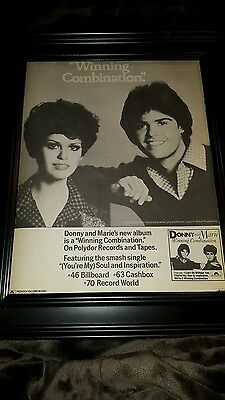 Donny And Marie Osmond Winning Combination Rare Original Promo Poster Ad Framed!