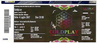 COLDPLAY - Ticket concert A HEAD FULL OF DREAMS TOUR 2017 Milano 4 luglio 2017