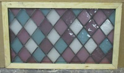 """MID SIZED OLD ENGLISH LEADED STAINED GLASS WINDOW Pretty Diamonds 26.25"""" x 15.5"""""""