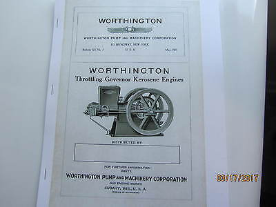 1921 Worthington Kero 1 1/2 to 25hp  Engine  Instruction/Type Catalog Manual