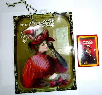 New Coca Cola Vintage Style Gift Bag + Pack Of Cards Lot #1