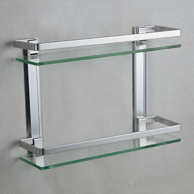 Wall-Mounted Double Bathroom Rectangle Glass Shelf Aluminum Shelves 952HC