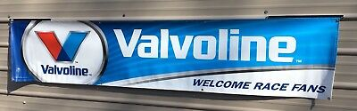 """VALVOLINE WELCOME RACE FANS Advertising Banner Sign 21-1/2"""" X 106"""" 2014"""
