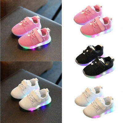 US Lovely Children Boys Girls kids LED Light Running Sneakers Baby Shoes Toddler