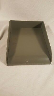 Vintage Globe Wernicke Metal Desk Office Inbox Outbox Paper Tray - Green