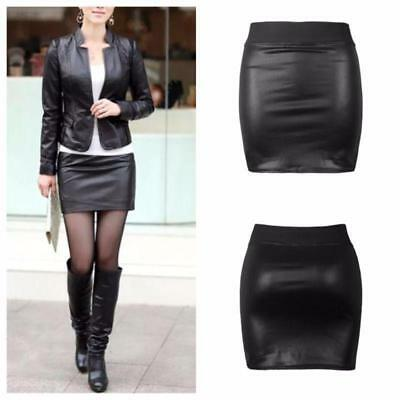 Women Faux Leather Bodycon Pencil Short Mini Skirt High Waist Tight S-3XL LJ