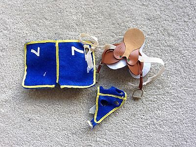 Rare Breyer Horse Traditional Accessory #2449 Race Tack Set Saddle Pad Hood Blue