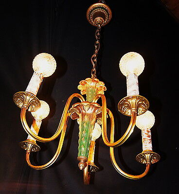 VTG DECO ERA VICTORIAN ORIGINAL CHANDELIER CEILING LIGHT FIXTURE 1930's