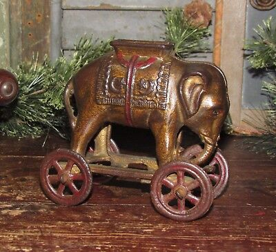 Antique Vtg A C Williams Cast Iron Elephant on Wheels Pull Toy Bank Gift Idea