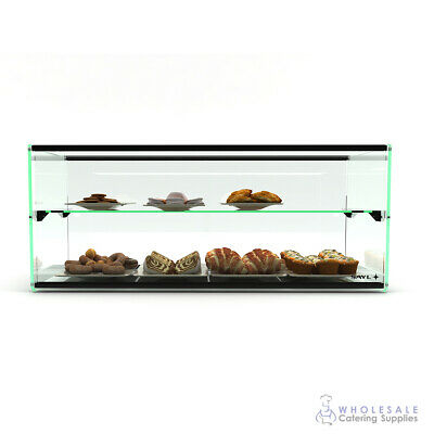 Ambient Display Two Tier Tempered Glass 920x360x360mm Muffin Cake Biscuit Donut