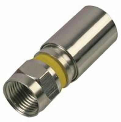 Pack Of 5 F Connector Compression Plug Rg6 Yellow For Sky Satellite Virgin Cable