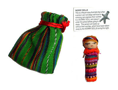 Worry Doll - SINGLE BIG WORRY DOLL in TEXTILE BAG - Green