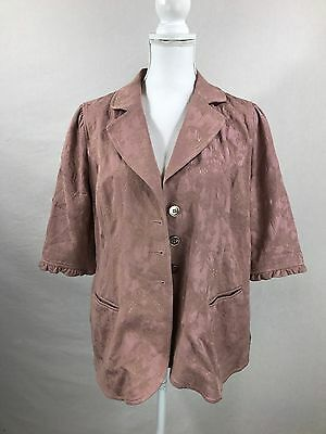 A Pea In The Pod Women's Taupe Floral Embroidered Blazer Size Large