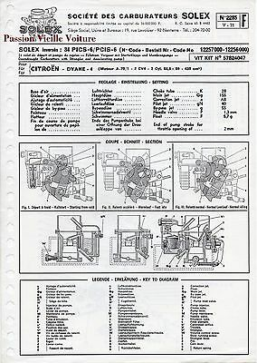 Fiche Technique Citroen Dyane 2285 Carburateur Solex 34 Pics - 6 Pcis -6 V-71