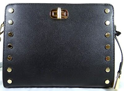101171f9141b81 MICHAEL KORS SYLVIE Stud Black Leather Messenger Bag - $119.98 ...