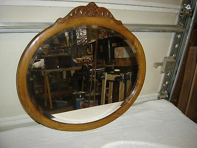 Antique Oak Oval Beveled Mirror with Applied Carving  9670