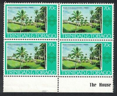 Trinidad and Tobago Beach facilities Mt. Irvine Hotel 1v 70c Block of 4 SG#492