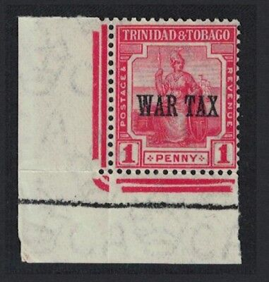 Trinidad and Tobago 'WAR TAX' overprint in one line 1v 1 penny Corner with