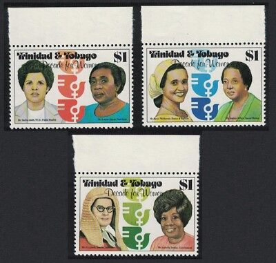 Trinidad and Tobago Decade for Women 1st issue 3v Top Margins SG#577-579