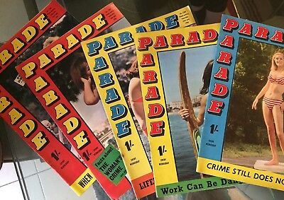 Five x 1966 Parade Magazines - See Pix for Issue Numbers and Dates (L3)