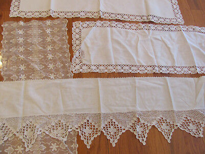 BOX LOT-12* VTG 1920s-40s HAND-CROCHET LACE TRIM DRESSER SCARVES-DOILIES-CRAFTS