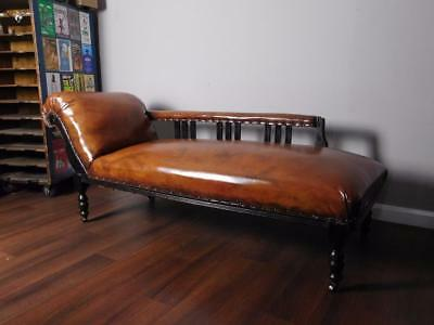 Exquisite edwardian chaise longue in stunning whisky brown for Brown leather chaise longue