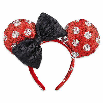 Disney Parks Minnie Mouse Sequined Ears Headband for Adults Polka Dot New