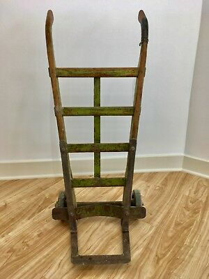 Antique c1925 Wood and Steel Hand Truck from Produce store, rubber wheels