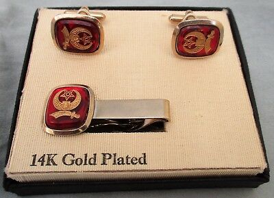 MASONIC SHRINER 14k (plated)  GOLD TIE BAR CLIP & CUFF LINKS