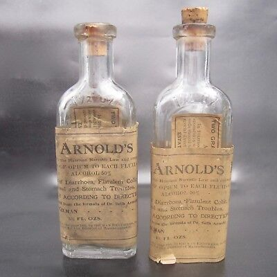 Lot of Two (2) Vintage Small Seth Arnold's Balsam Opium Bottles ~ Paper Labels ⌕