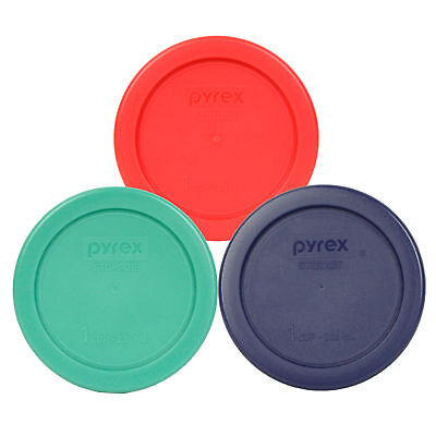 Pyrex 7202-PC 1 Cup (1) Blue (1) Red (1) Green Plastic Round Lids 3PK New