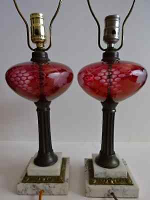 Pair of Vintage Bohemian Cranberry Red Glass Etched Grapes Marble & Brass Base