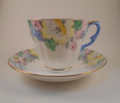 Crown Staffordshire Pastel Flowers Cup & Saucer Bone China F14910