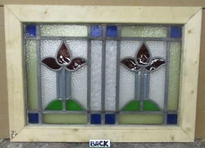 "MID SIZED OLD ENGLISH LEADED STAINED GLASS WINDOW Beaut Abstract 26.75"" x 21.75"""