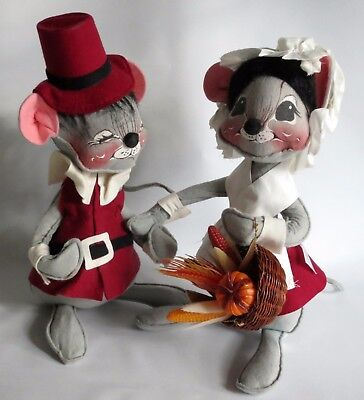 Vintage Pair Annalee Mouse Dolls Thanksgiving Pilgrim COUPLE Holiday 14 inch