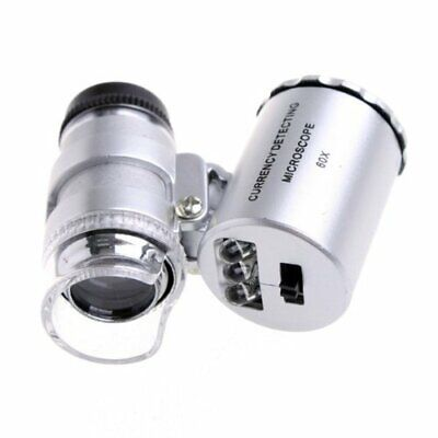 60x Handheld Pocket Microscope Jeweler Magnifier With LED Light Glass Best S9P5