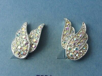 Vintage 1971 SARAH COVENTRY Silver-tone AB Rhinestone Clip On Earrings Boxed
