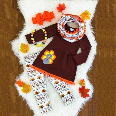Thanksgiving Day Turkey Kids Baby Girls Outfit Clothes T-shirt Tops Dress+Pants