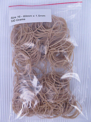 Size 16 Rubber Bands 60mm x 1.5mm 100gm Bag 30616