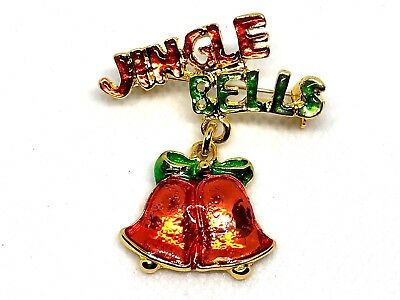 "Jingle Bells Christmas  Brooch pin 2""x1 1/2"" GIFT gold tone stocking stuffer #17"