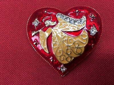 "Angel heart Christmas Brooch pin 1""x 2"" GIFT gold tone Christmas gift idea #17"
