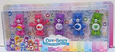 Care Bears Collectible 5 mini figure set Cheer Share Grumpy Good Luck Love NEW