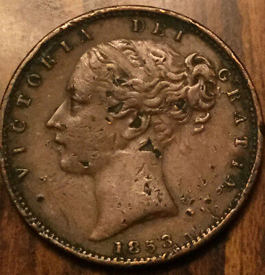 1853 Uk Gb United Kingdom Farthing In Higher Grade - Pitted