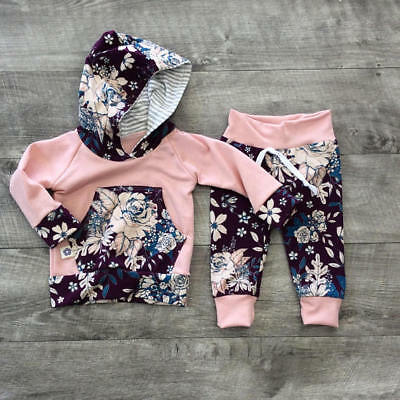 US Stock Kids Baby Girls Floral Clothes Set Hooded Tops Long Pants Outfits 0-3T