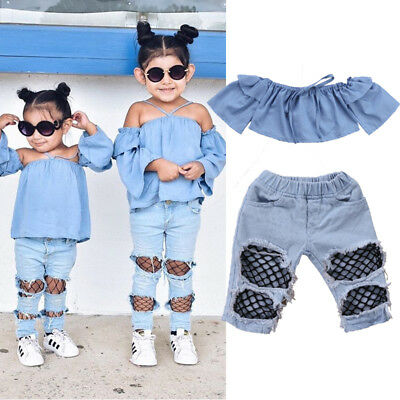 US Stock Toddler Kids Baby Girls Off Shoulder Tops Denim Pants Hole Jeans Outfit