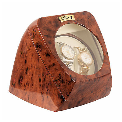 AXIS® Burl Dual Automatic 2 Watch Winder Rotator New
